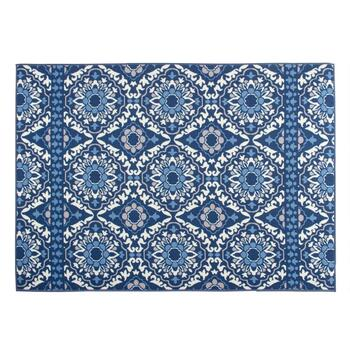 "4'4""x6' Blue Floral Medallion Printed Area Rug"