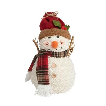 "13"" Fabric Snowman Sitter with Red Hat"