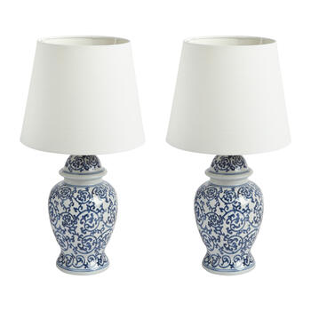 "20.5"" Blue/White Floral Scroll Ceramic Table Lamp view 1"