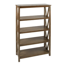 Dark Tan Plank Top V-Side Bookcase with Shelves view 1