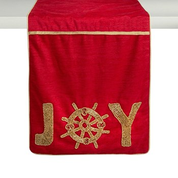 """Joy"" Beaded Ship's Wheel Table Runner view 1"