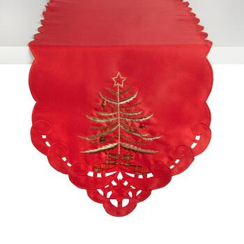 Red Evergreen Tree Cutwork Table Runner