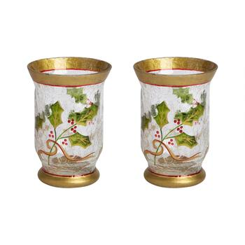 Gold Holly Berry Glass Candle Hurricanes, Set of 2
