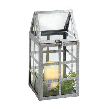 "12"" Metal House Flameless Candle Lantern view 1"