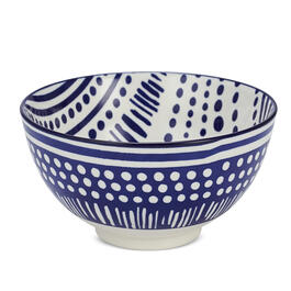 "Blue & White Dotted Lines 5.5"" Serving Bowl view 1"