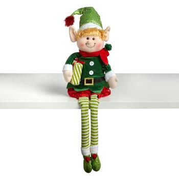 "15"" Dangling Legs Boy Elf Sitter"