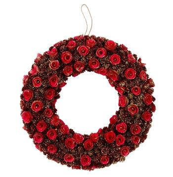 "19"" Red/Gold Roses Hanging Woodchip Wreath"