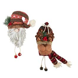 Plush Santa and Reindeer Door Hangers, Set of 2