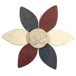 Patriotic Painted Flower Wood Wall Hanger