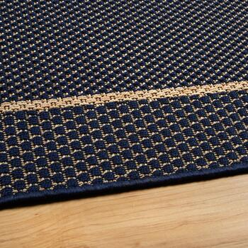 Navy/Tan Border Woven All-Weather Area Rug view 2