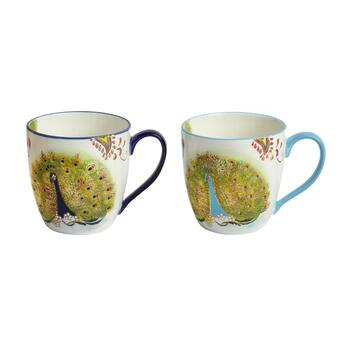 18-oz. Peacock Mugs, Set of 2