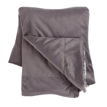 Gray Marble Faux Fur Throw Blanket view 2