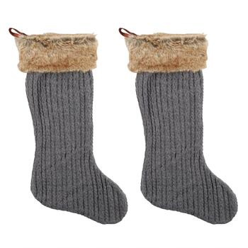 Gray Cable Knit Faux Fur Cuff Stockings, Set of 2