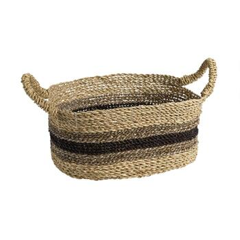 Brown/Black Stripe Oval Woven Seagrass Basket