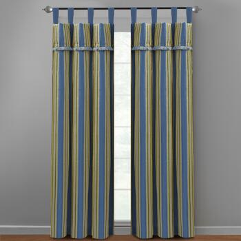 "Waverly® 84"" Blue Stripe Tab Top Window Curtains, Set of 2"