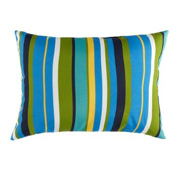 Blue/Green Striped Indoor/Outdoor Oblong Throw Pillow
