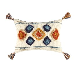 Orange/Blue Diamonds Tassel Oblong Throw Pillow