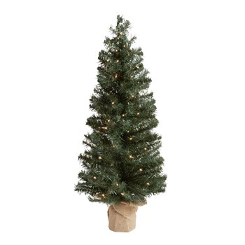 3' White Pre-Lit Burlap Bottom Christmas Tree view 1