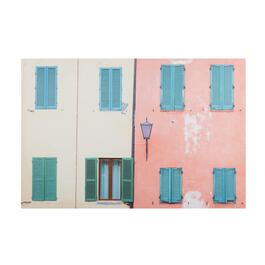 "24""x36"" Blue Shutter Houses Canvas Wall Art"