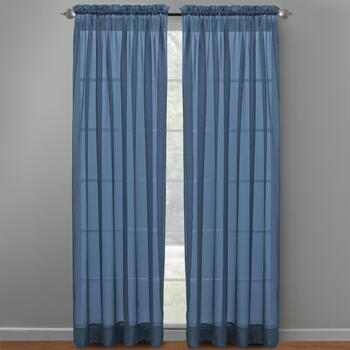 Voile Sheer-Style Rod Pocket Window Curtains, Set of 2 view 2