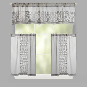 Scroll Embroidered Rod Pocket Window Tier & Valance Set