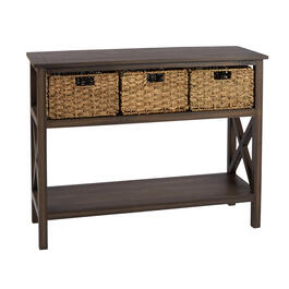 Brown Manor 3-Basket Plank Top Console Table view 1