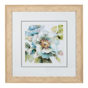 "22"" Blue Flowers Tan Framed Wall Art"