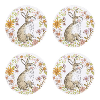 "15"" Flower Bunny Round Cotton Placemats, Set of 4 view 1"