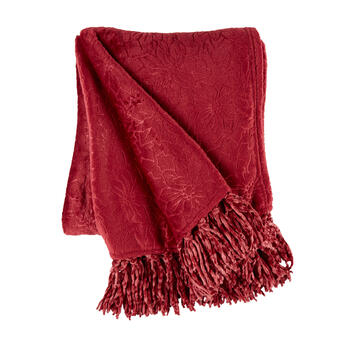 Poinsettia Embossed Throw Blanket with Fringe view 1