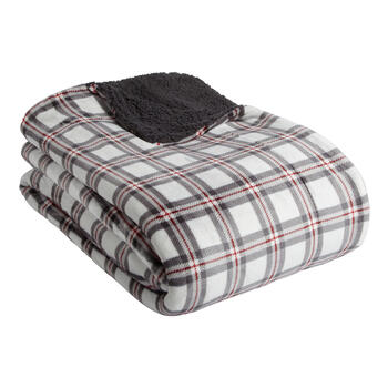 White/Red Plaid Reversible Berber Blanket view 1