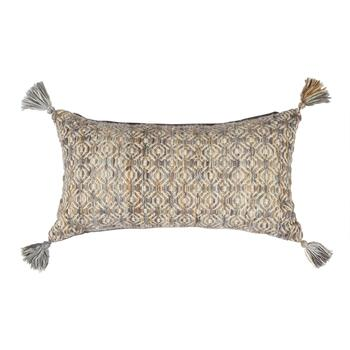 The Grainhouse™ Tan/Gray Tasseled Throw Pillow