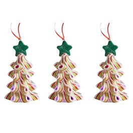 Ribbon Candy Christmas Tree LED Ornaments, Set of 3