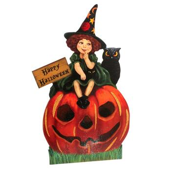 "30"" ""Happy Halloween"" Friendly Witch Easel Back Decor"