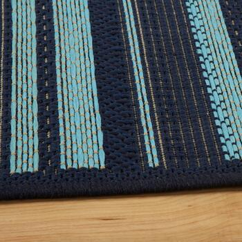 Blue/Green Stripe All-Weather Area Rug view 2