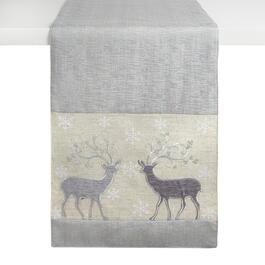 "72"" Reindeer Couple Embellished Cotton Blend Table Runner"