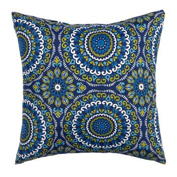 Blue Medallion Indoor/Outdoor Square Throw Pillow