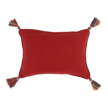 Red/Orange Leaves Tassel Oblong Throw Pillow view 2