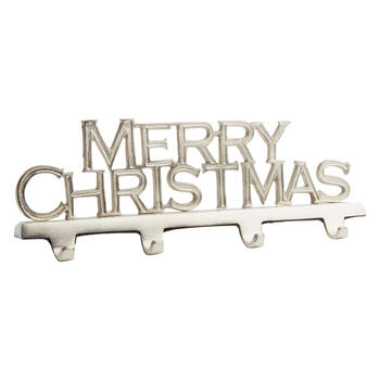 """Merry Christmas"" 4-Hook Metal Stocking Holder view 1"