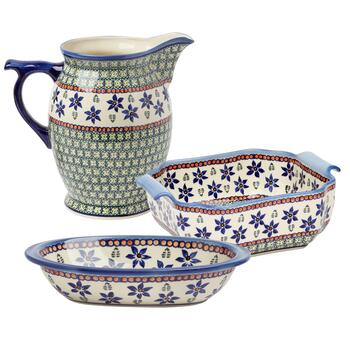 Polish Pottery Blue Floral Handcrafted Serveware Collection