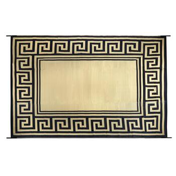9'x12' Black/Tan Greek Key Reversible All-Weather Patio Mat view 2