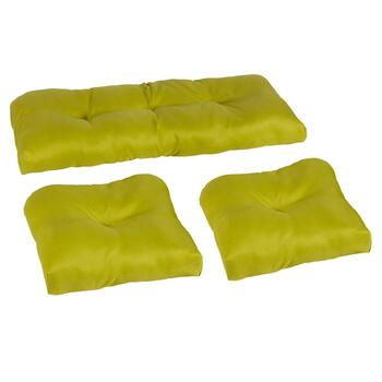 Solid Green Indoor/Outdoor Seat Pad Set, 3-Piece