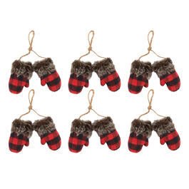 Buffalo Check Mitten Pair Rope Hangers with Faux Fur, Set of 6 view 1