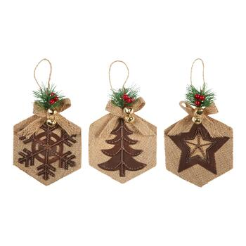 Burlap Holiday Icons Gift Card Holder Ornaments, Set of 6
