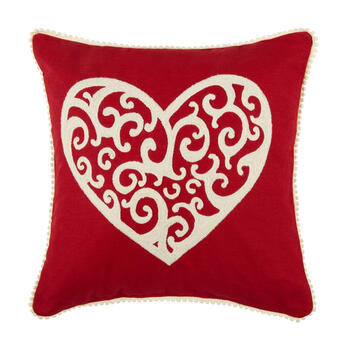 Red Plush Heart Scroll Square Throw Pillow view 1