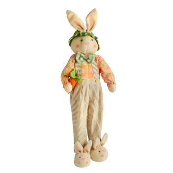 "29"" Standing Bunny Boy with Overalls Decor"