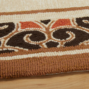 Black/Red/Brown Border All-Weather Hand-Hooked Rug view 2