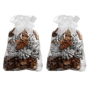 Snow Frosted Scented Pinecone Bags, Set of 2