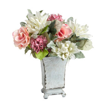 Metal Urn Flower Vase with Artificial Arrangement view 1