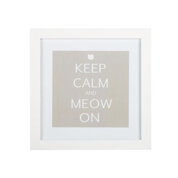 "15"" ""Keep Calm and Meow On"" Framed Wall Decor"