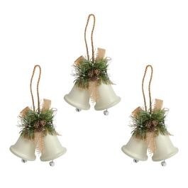 Burlap Bow Decorative Double Bell Hangers, Set of 3